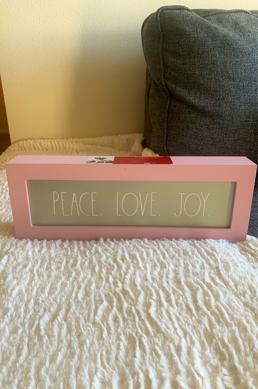 "Rae Dunn ""Peace. Love. Joy."" Pink Sign"