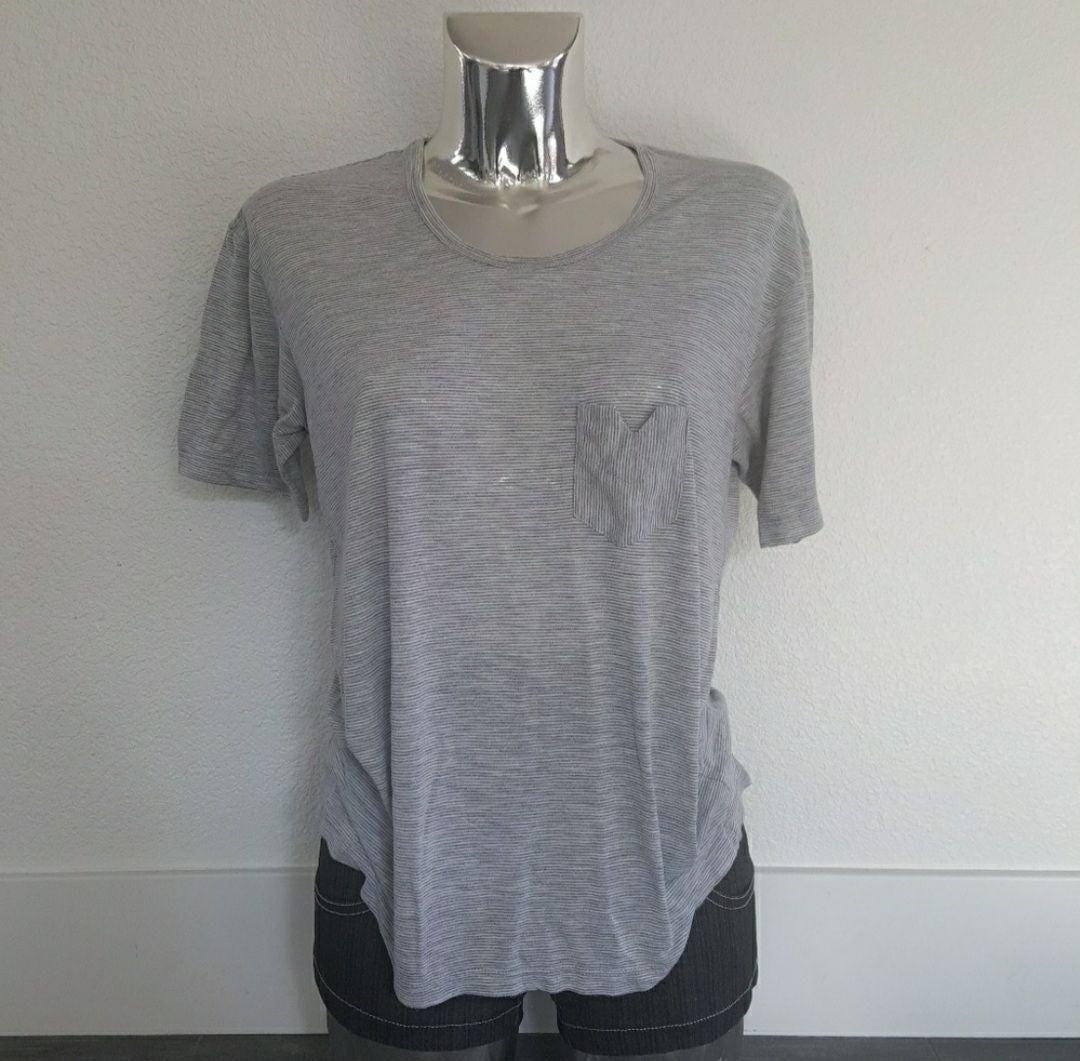 White Grey Pinstripe Pocket Tshirt