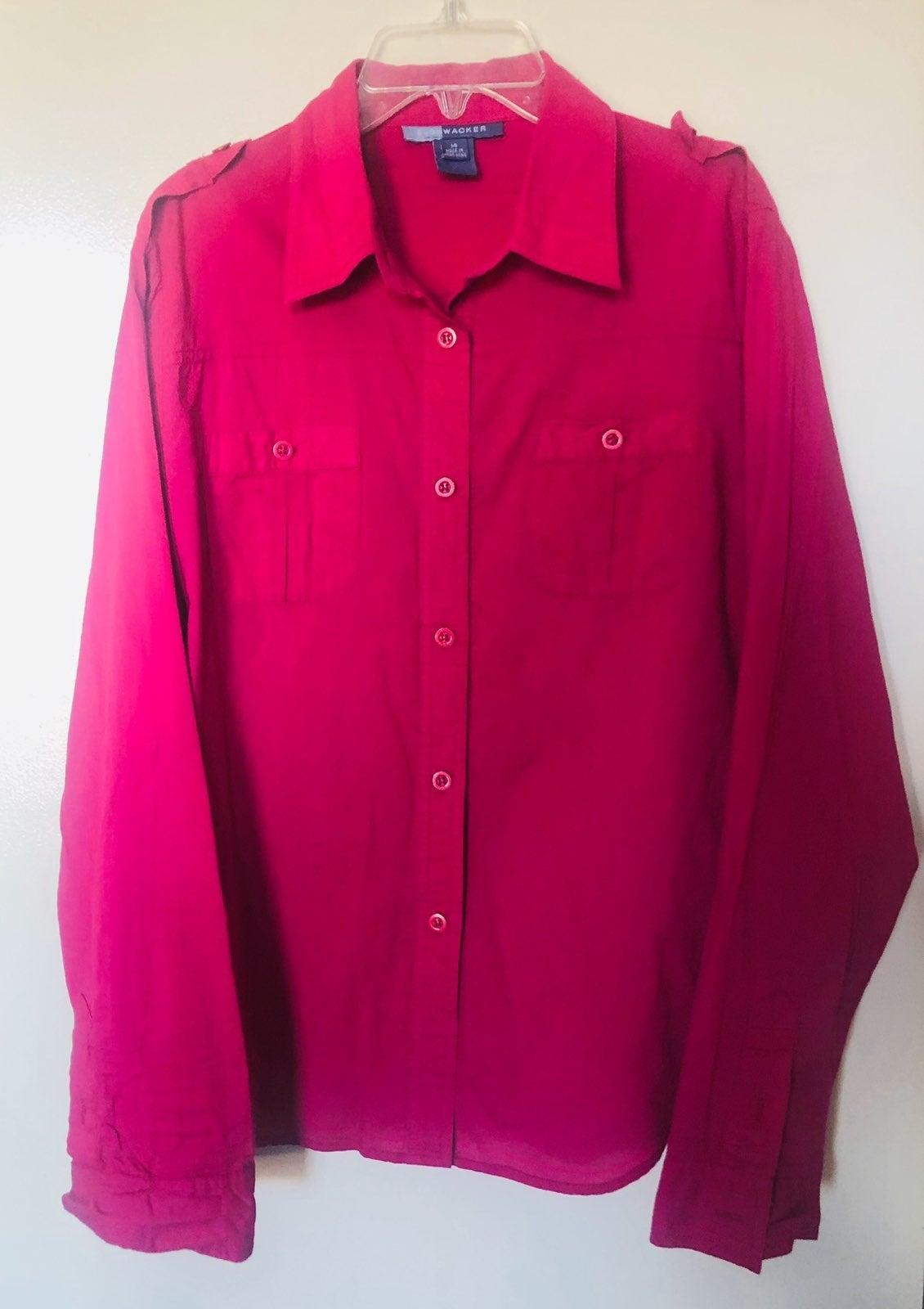 Bushwacker Pink Long Sleeves Top Size 14