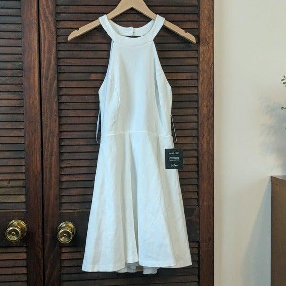 Lulu's White Empire Neck Skater Dress