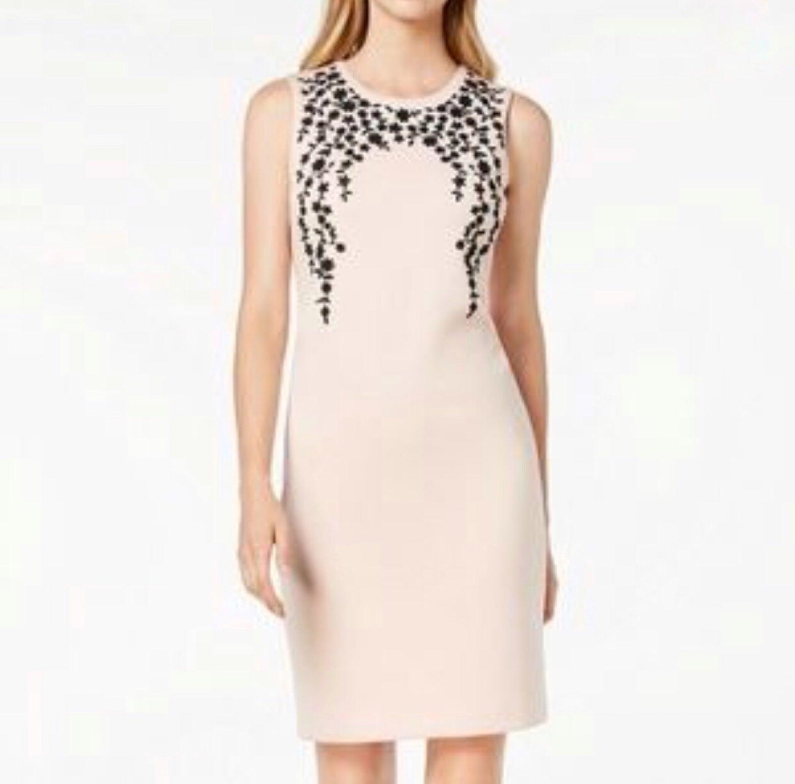 Calvin Klein Beaded Pink Sheath Dress