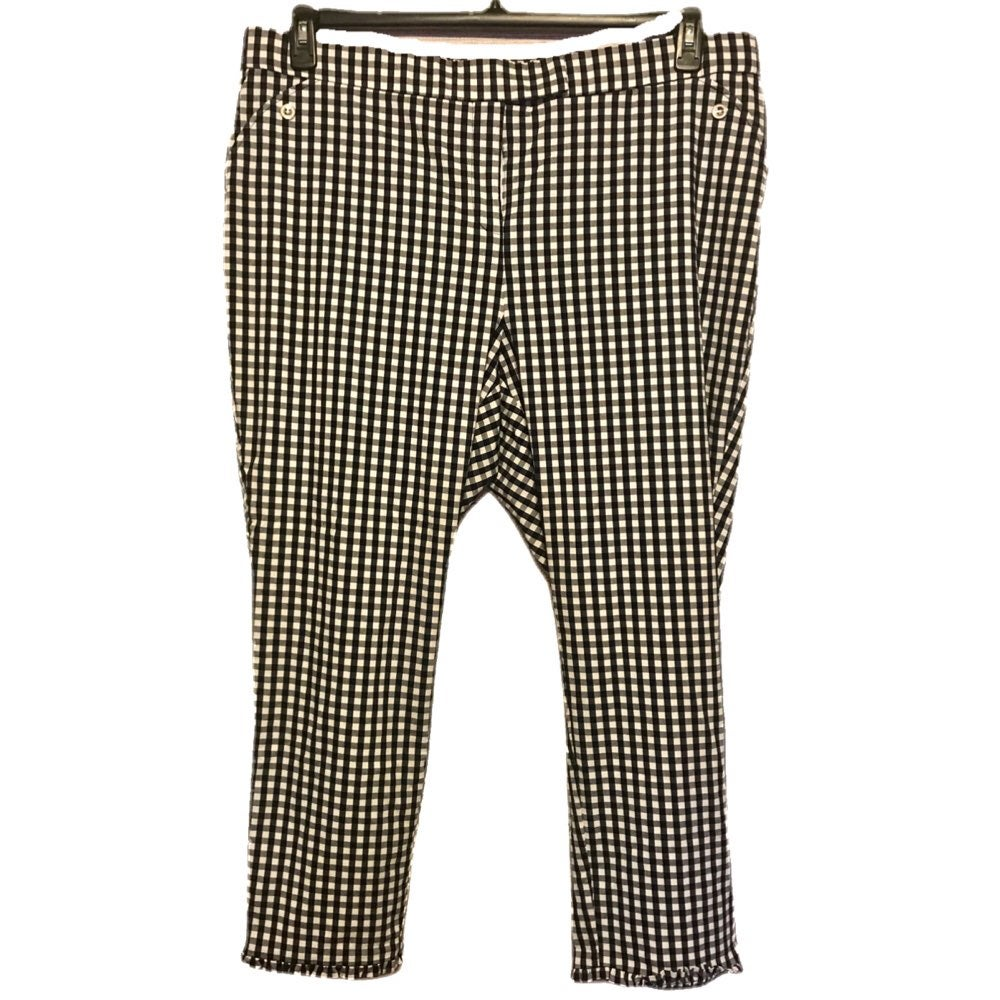 Rafaella gingham black plus crop pants