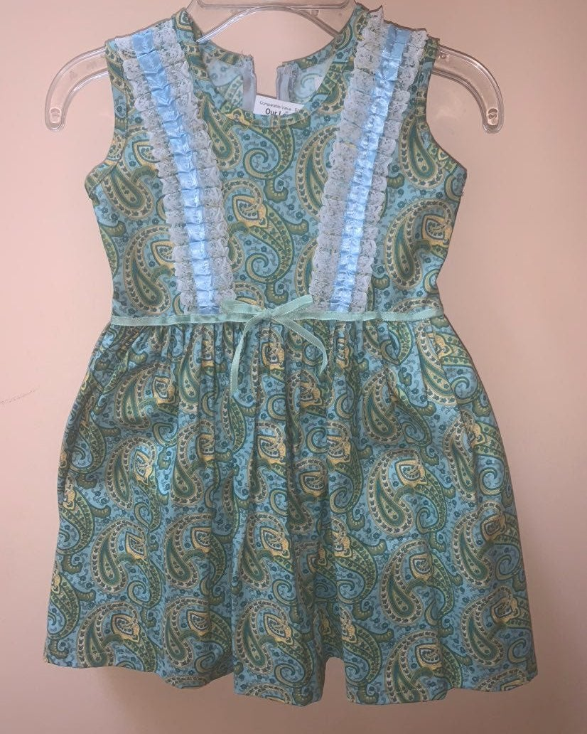 Custom Hand-made Green Girl Dress