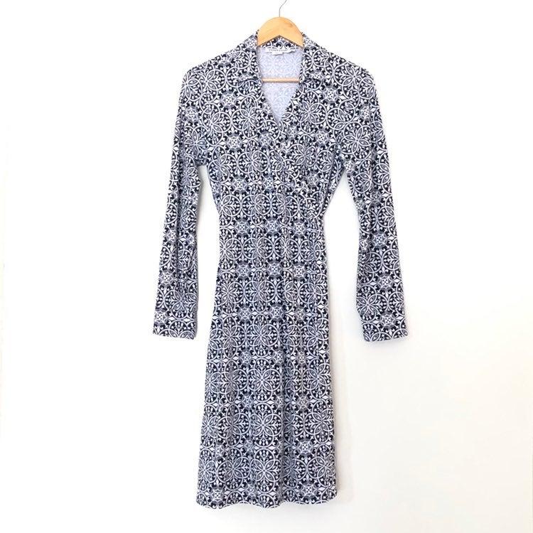 Pendleton Wrap Blue White Midi Dress Med