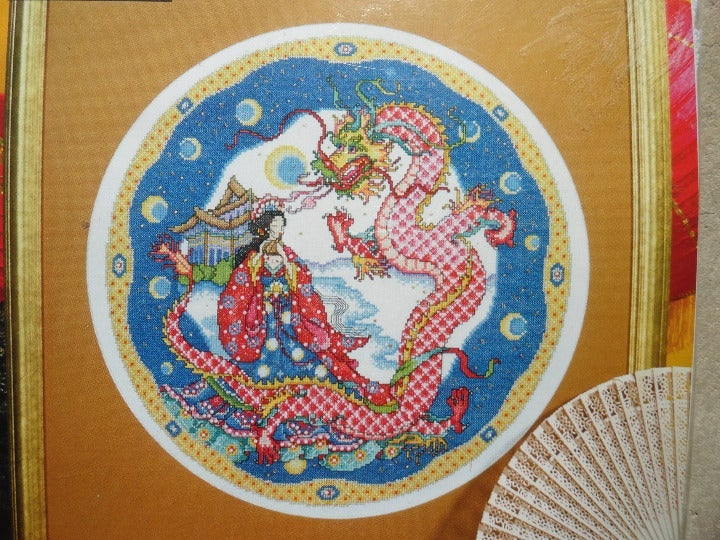 "Cross Stitch Kit Dragon Maiden 14"" Round"