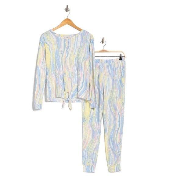 Kikit Abstract Printed Henley Pajama Set