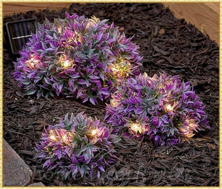 3 Purple Solar Plants Garden Decor