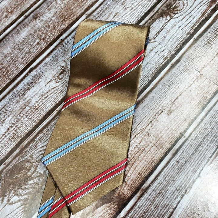 "Christian Dior 59"" Silk Neck Tie Brown B"