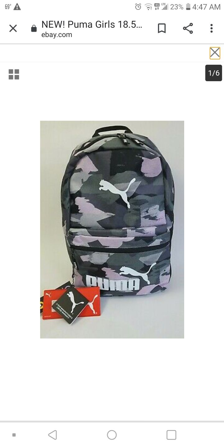 "NEW! Puma 18.5"" Backpack Pink Gray"