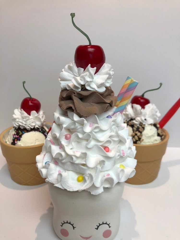 Faux mini ice cream whipped topper
