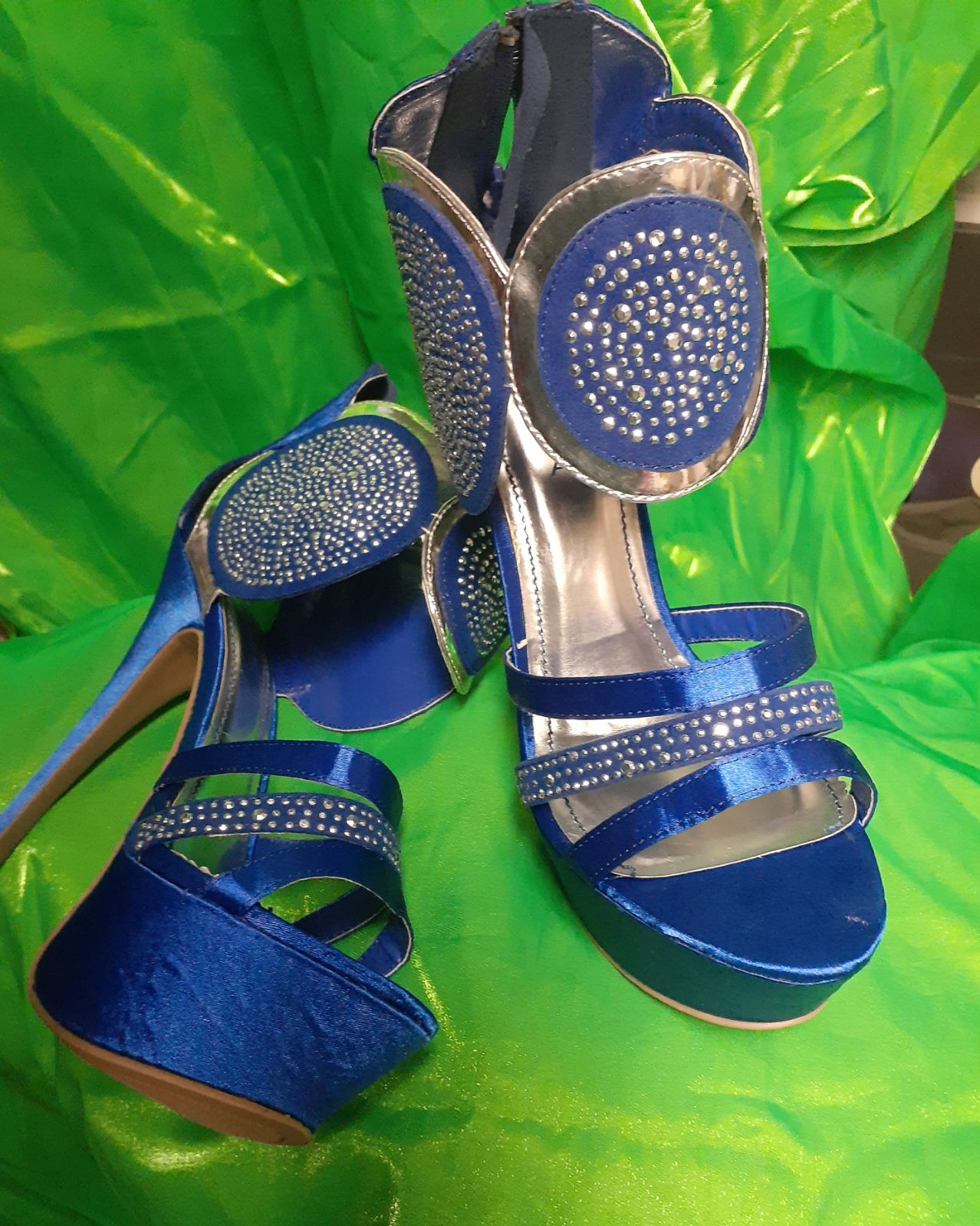 Blue and Silver Platform Stilettos - Siz