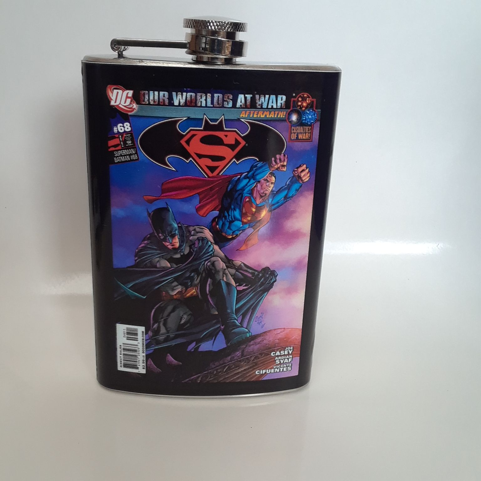 Batman/Superman #68 Vinyl Wrap 8oz Flask
