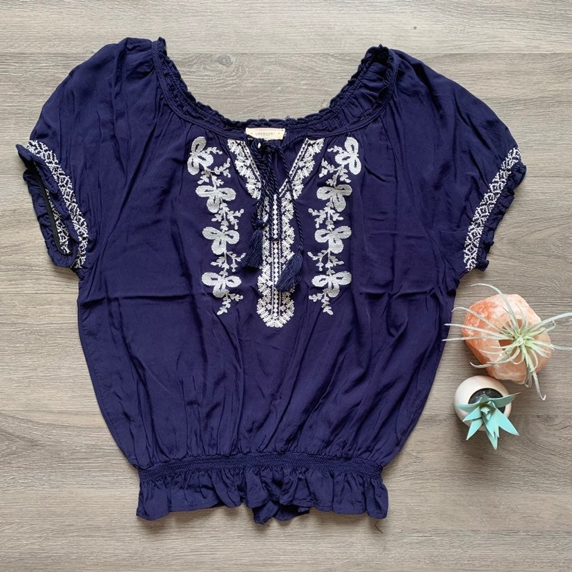 Crescent Boho Embroidered Peasant Blouse
