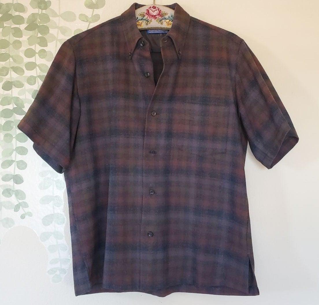 1960s Vintage Pendleton Plaid Wool Shirt