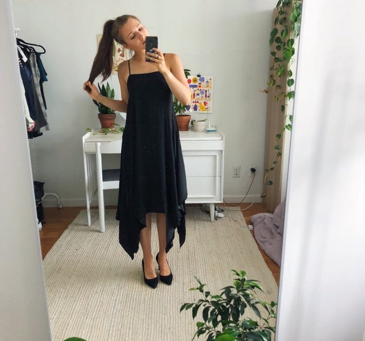 Silky Black 90s Midi Tank Dress