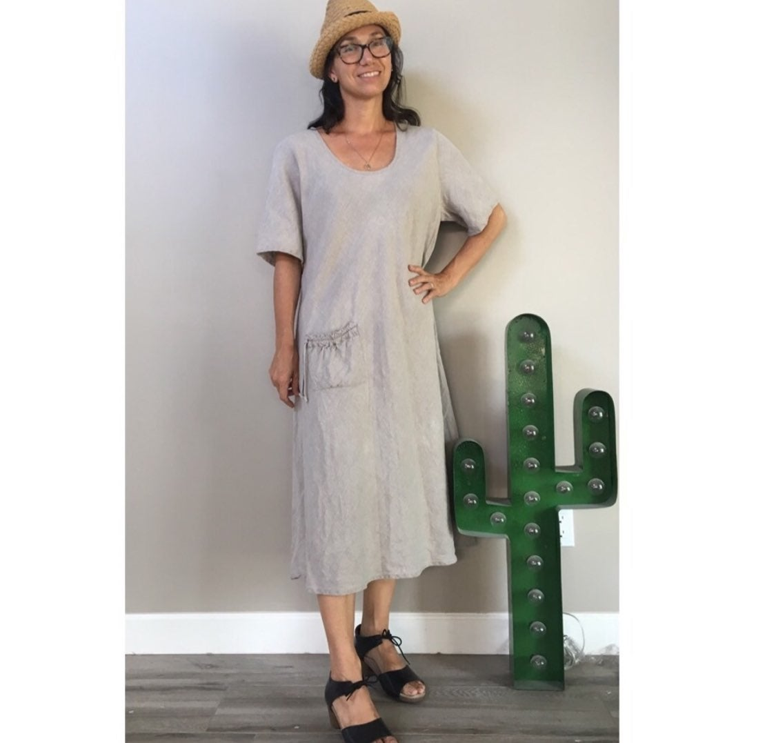 Flax linen midi dress large