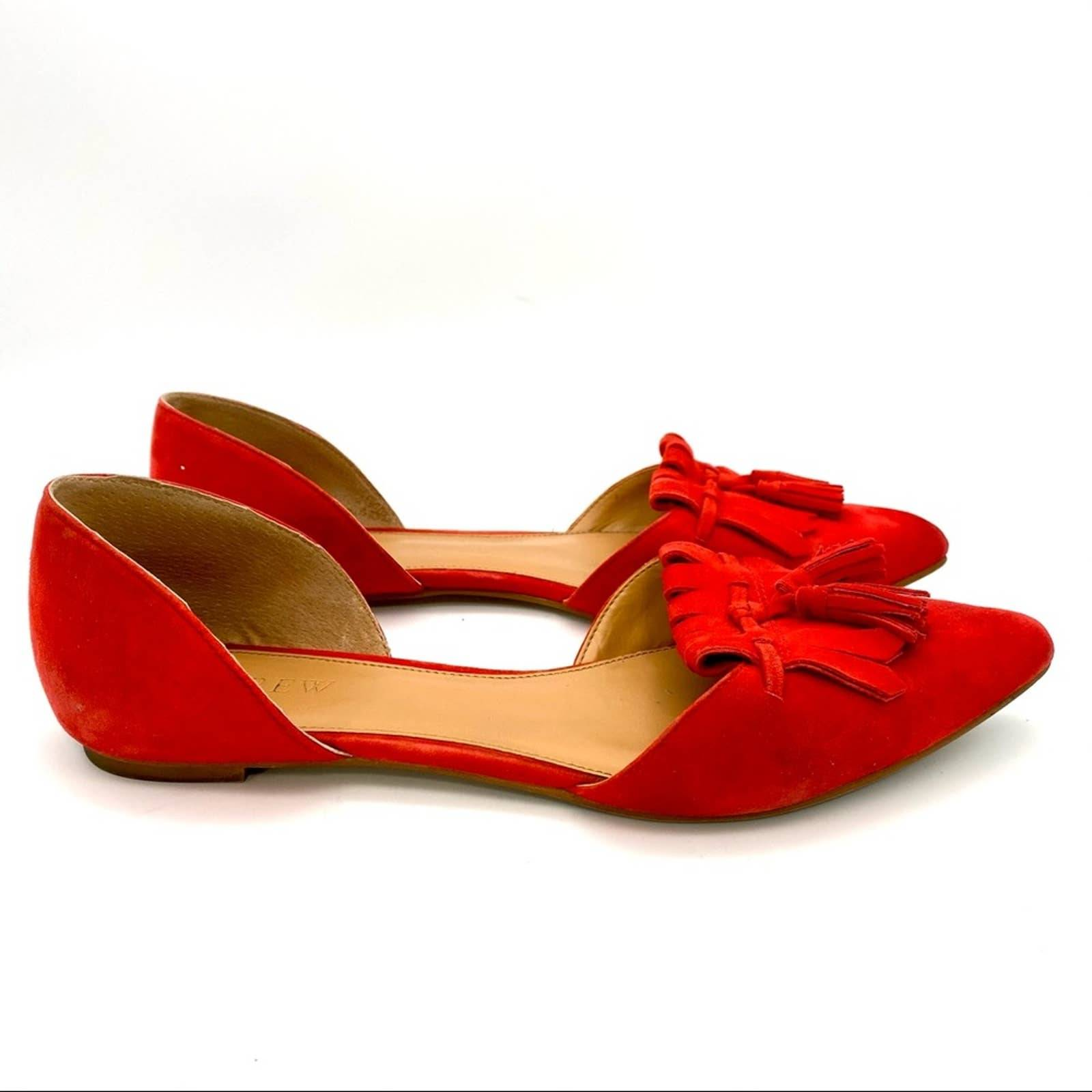 J. Crew D'Orsay Suede Red Flats