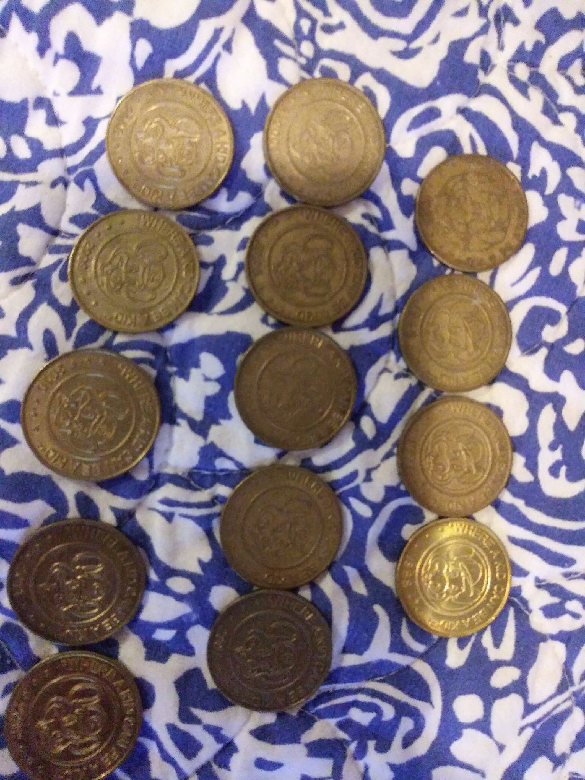 Vintage lot of 14 chuck e cheese tokens