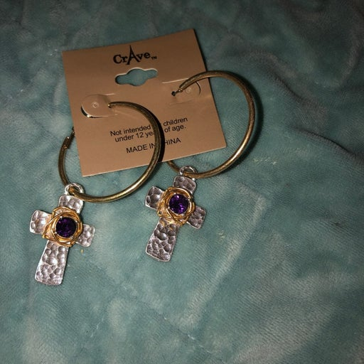 Cross amethyst eatrings gold and silver