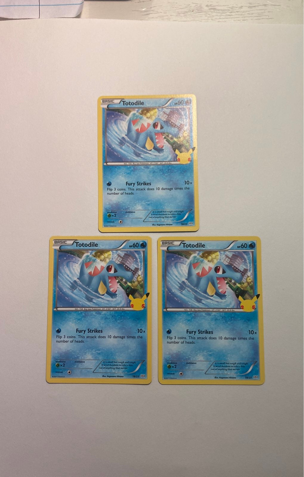 3 Totodile Pokemon Cards 25thAnniversary