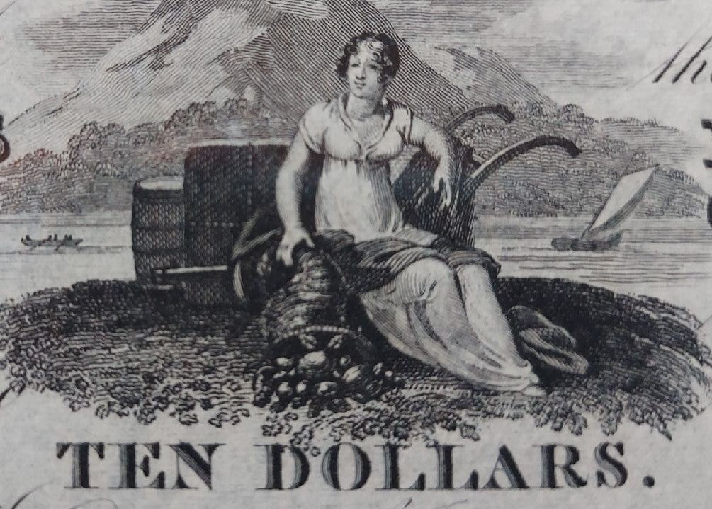 RARE Paper money, $10 currency 1823
