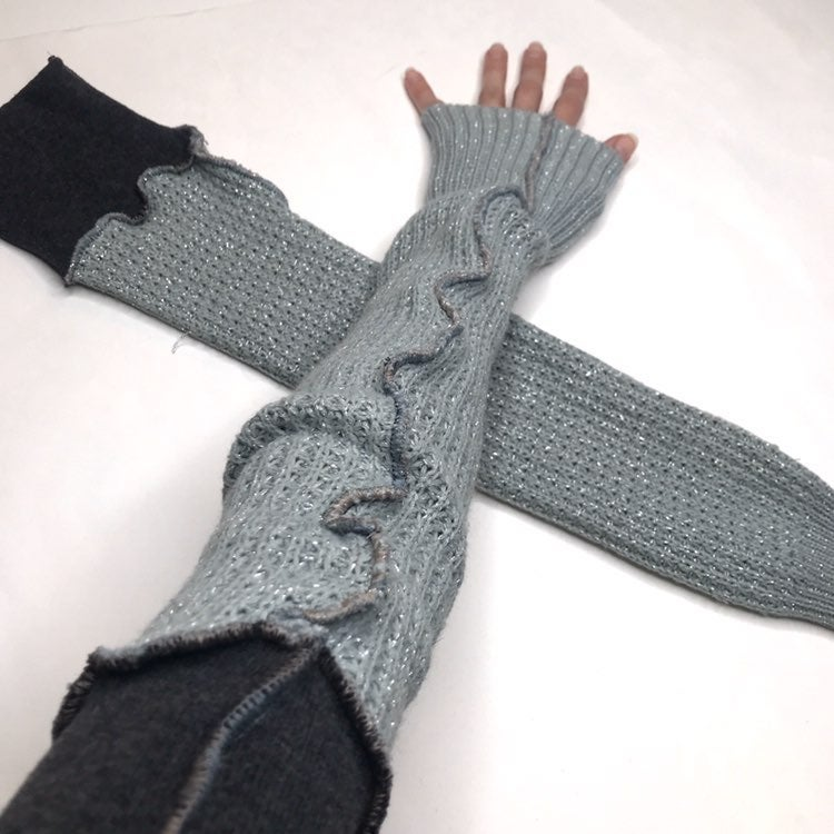 Blue Glitter Recycled Sweater Gloves