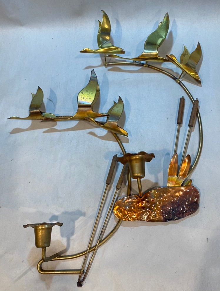 (2) MCM Copper Brass Geese Wall Sconces