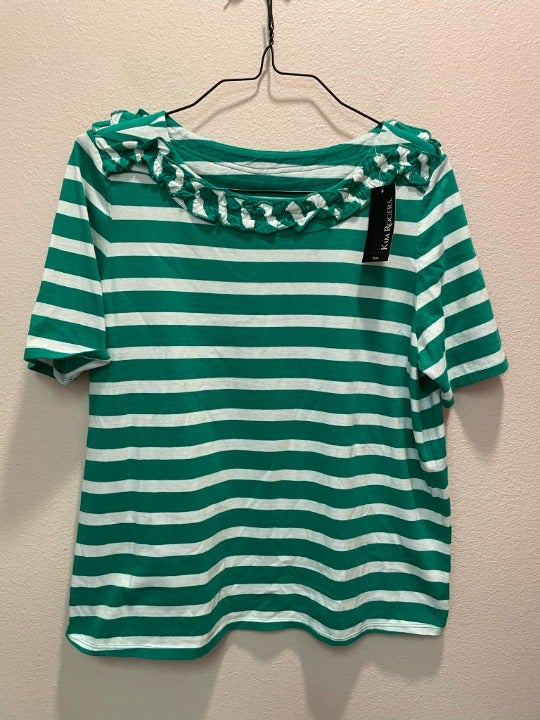 Green and white ruffle neck shirt