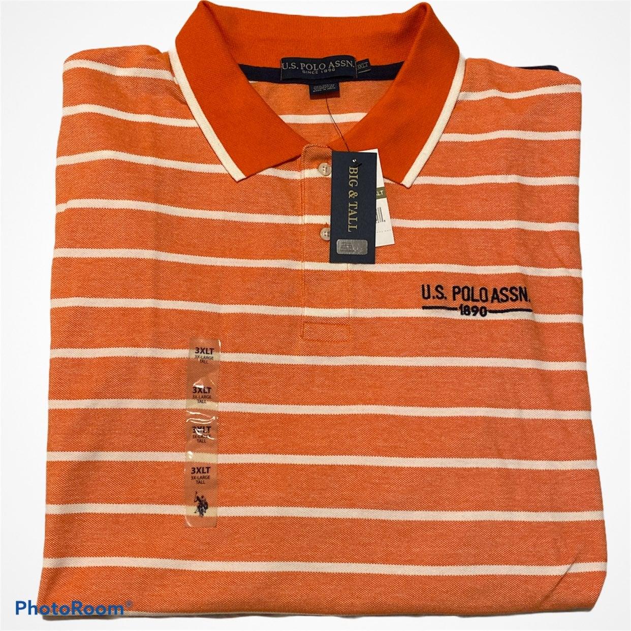 U.S. Polo Assn Orange Striped Polo 3XLT