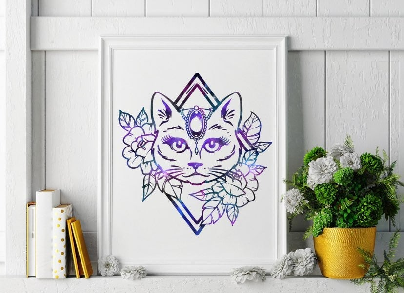 Galaxy Cat Boho Tattoo Design Wall Art