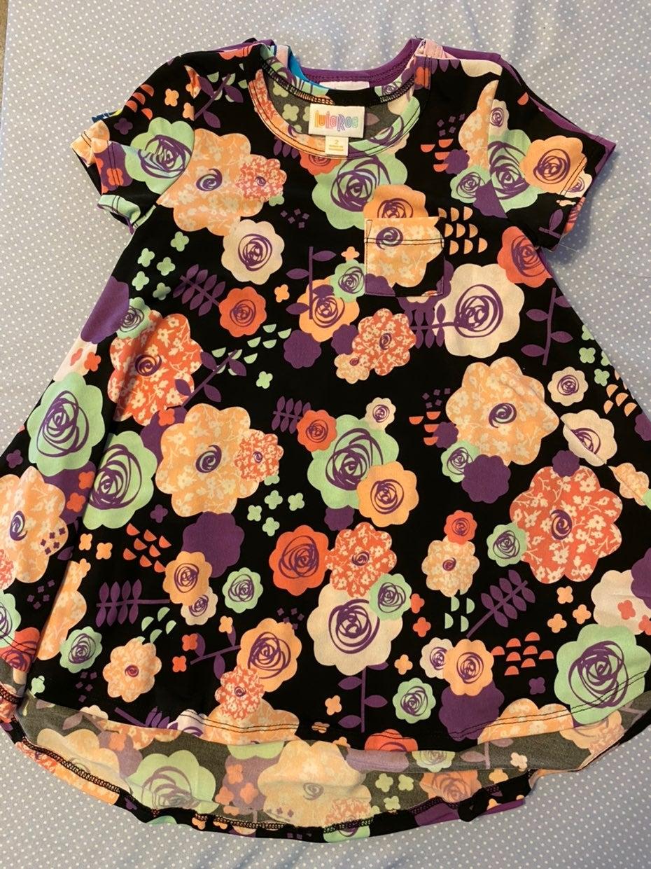 LuLaRoe Kids Scarlett Black Floral Size