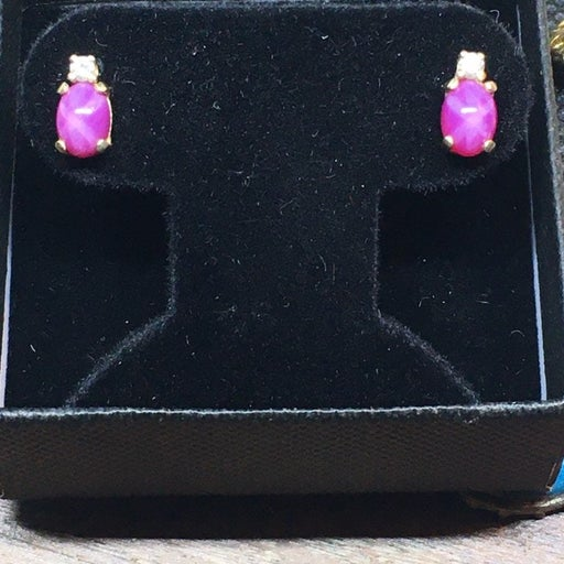 6 ray star gold ruby and diamond earring