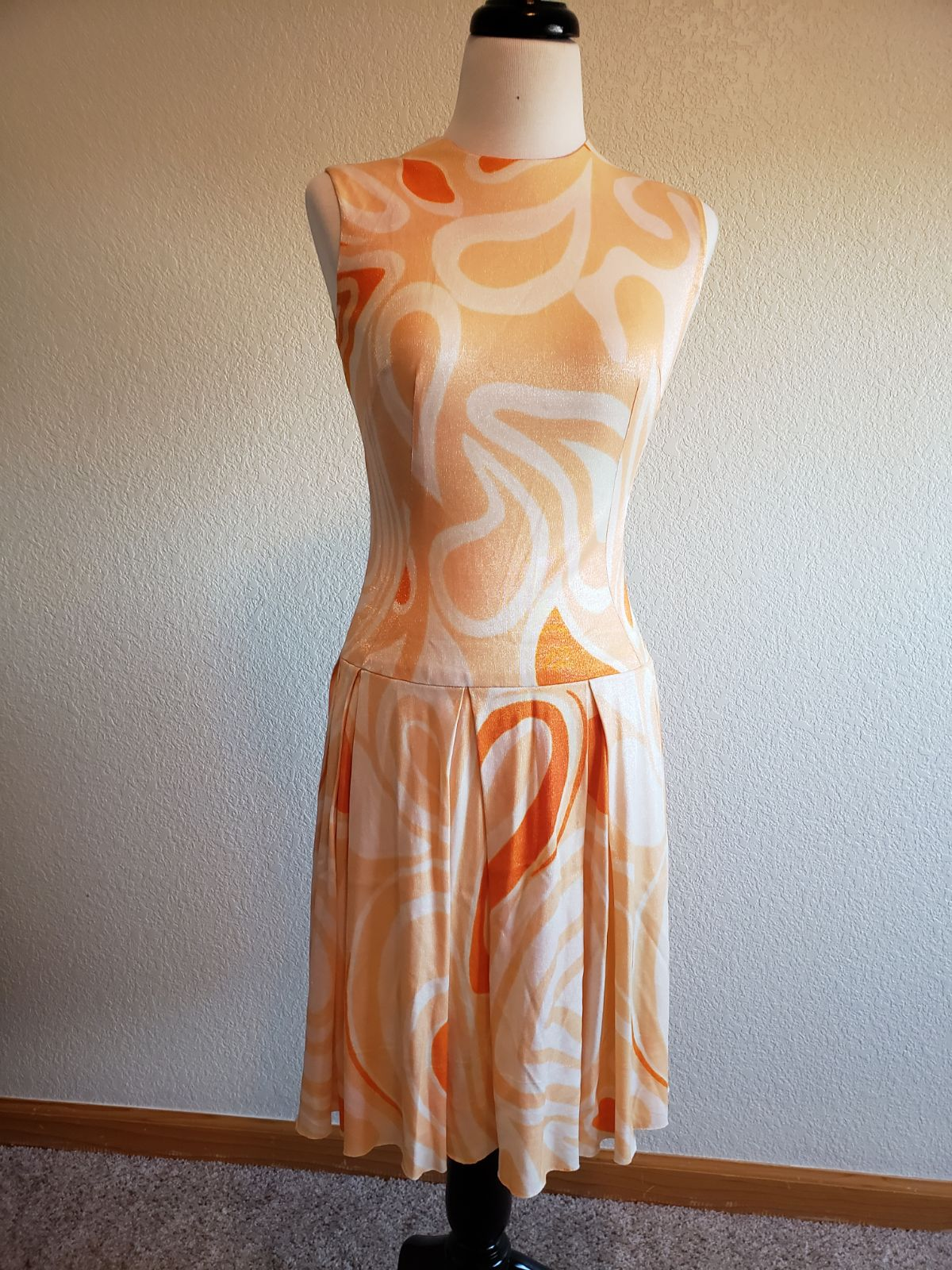 1960s drop waist psychedelic mod dress