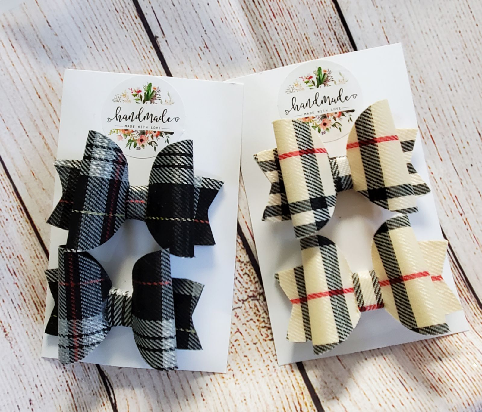 Burberry inspired faux leather hair bows