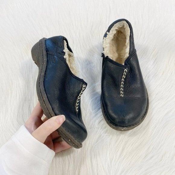 UGG Betty Black Leather Slip on Clog