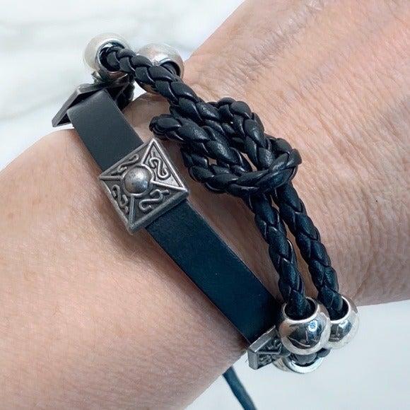Multistrand Leather Studded Bracelet