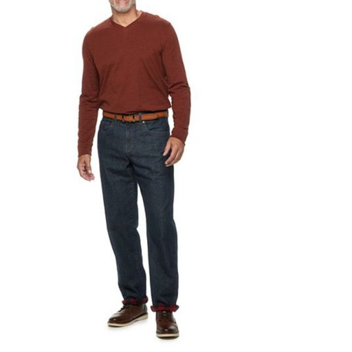 Men's Straight-Fit Flannel-Lined Jeans