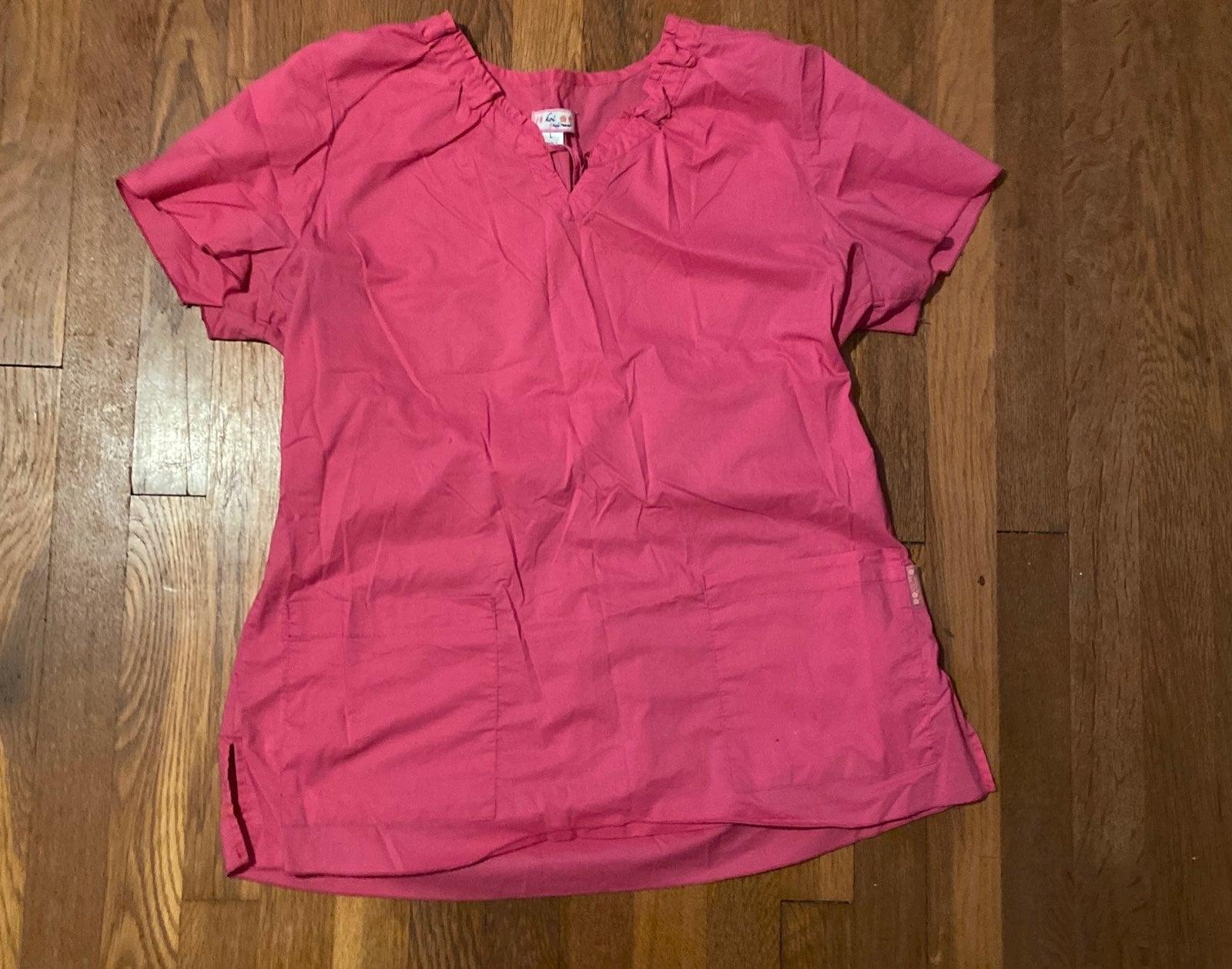 Womens  Pink Scrub Top