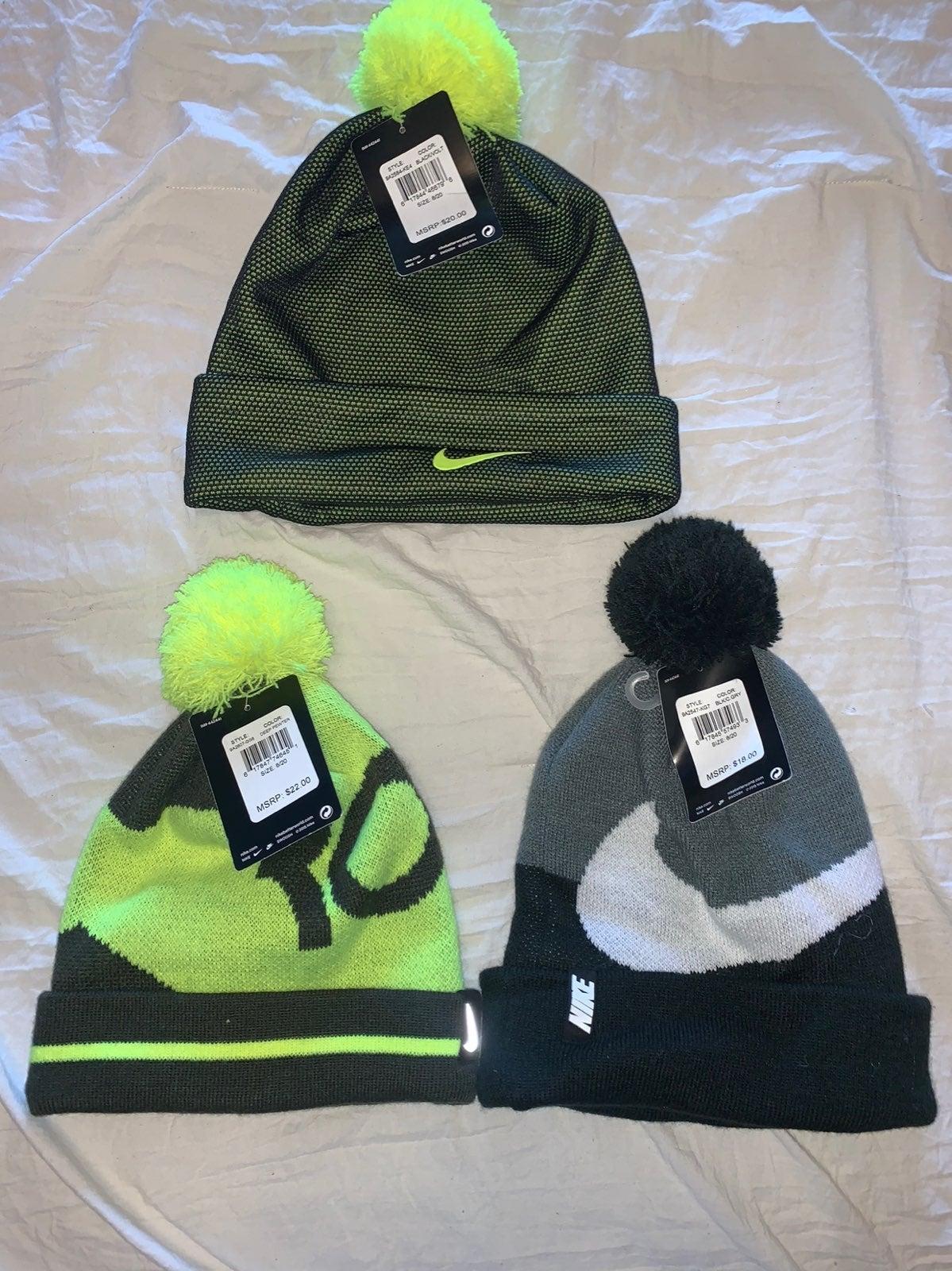 NWT Lot Of 3 Boys Nike Beanie Hats