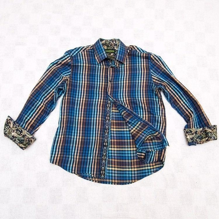Inserch XL Plaid Flip-Cuff Button Shirt