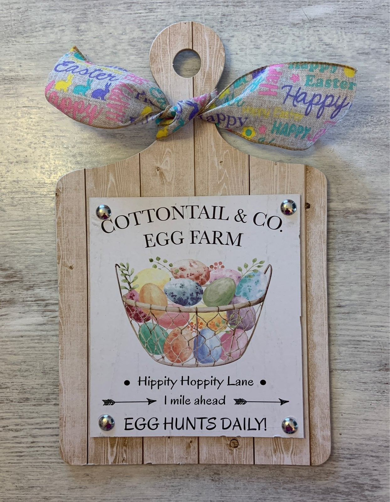 Cottontail Egg Farm Cutting Board Sign
