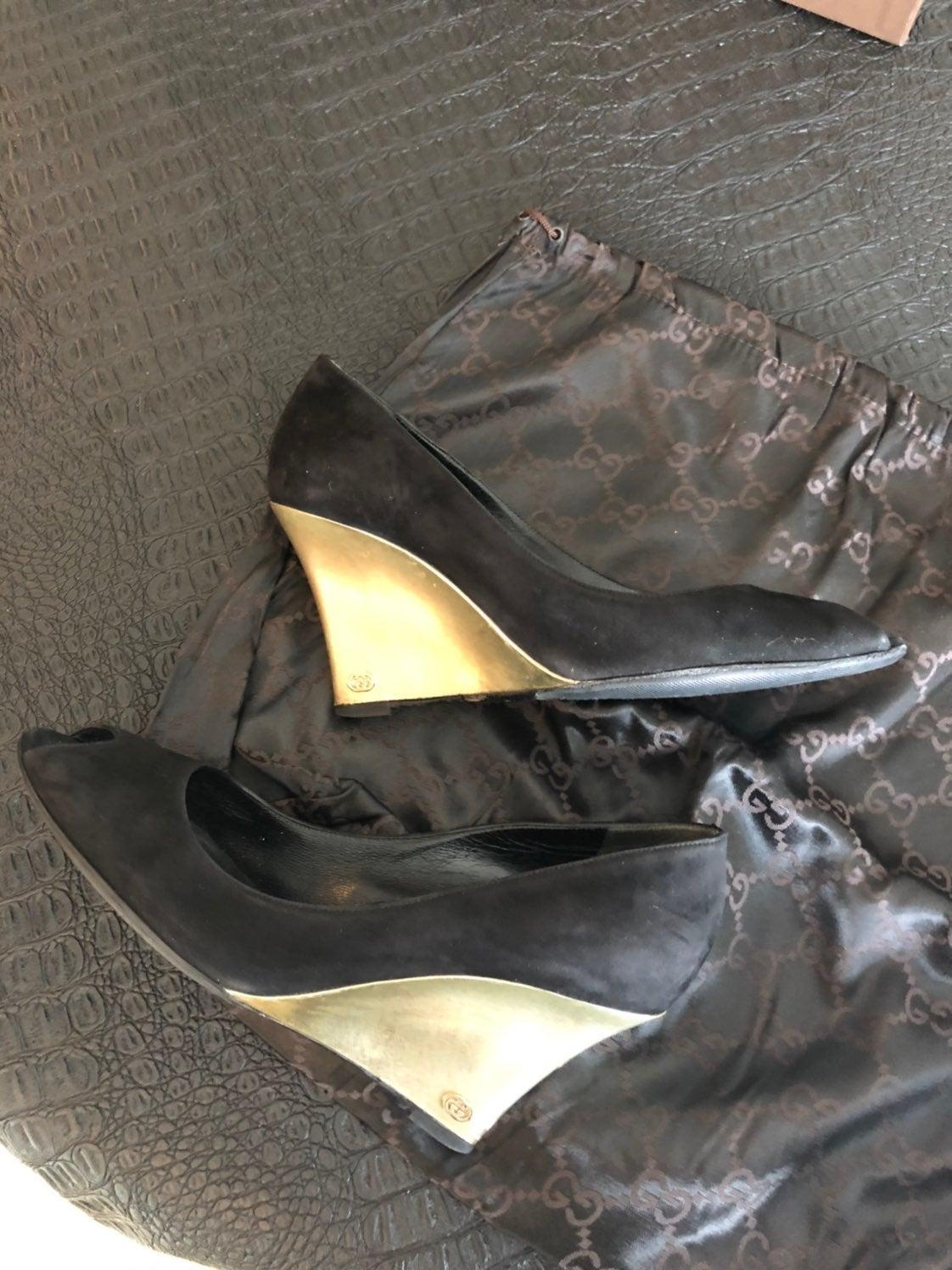 Gucci Black Suede Gold Wedge Heel 38 1/2