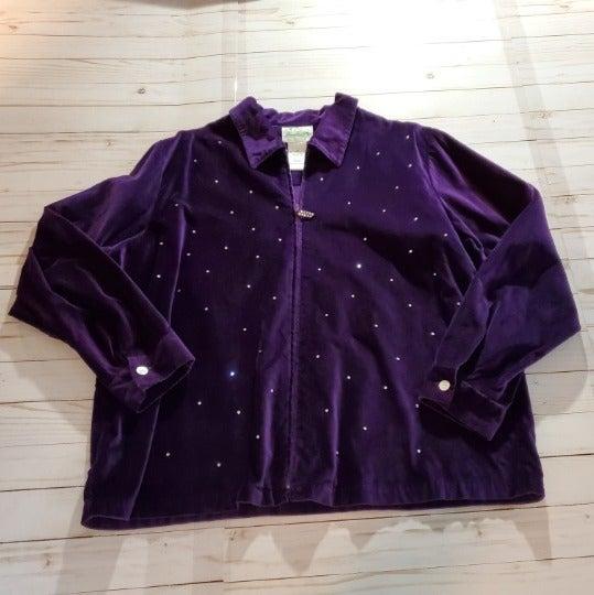 Quacker Factory Purple Velvet Jacket