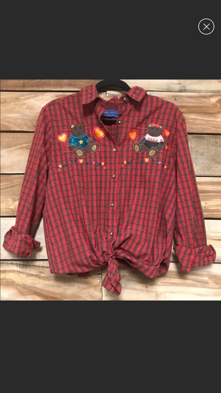 Plaid flannel bear top button up