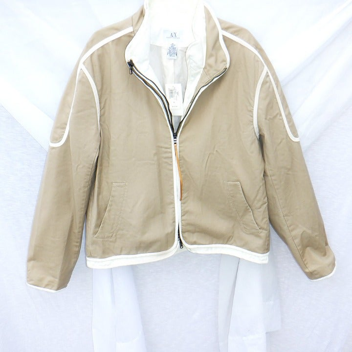 Armani Exchange Tan jacket w/white NWT