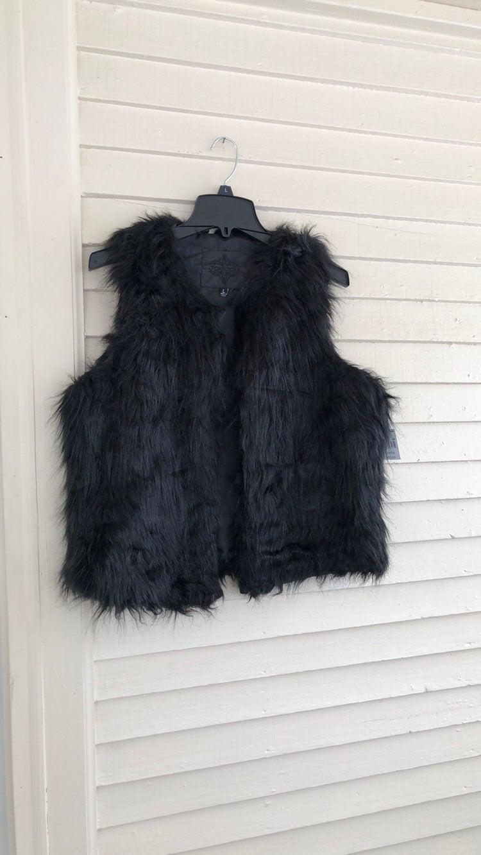 Jou Jou Faux Fur Vest Black Large NWT