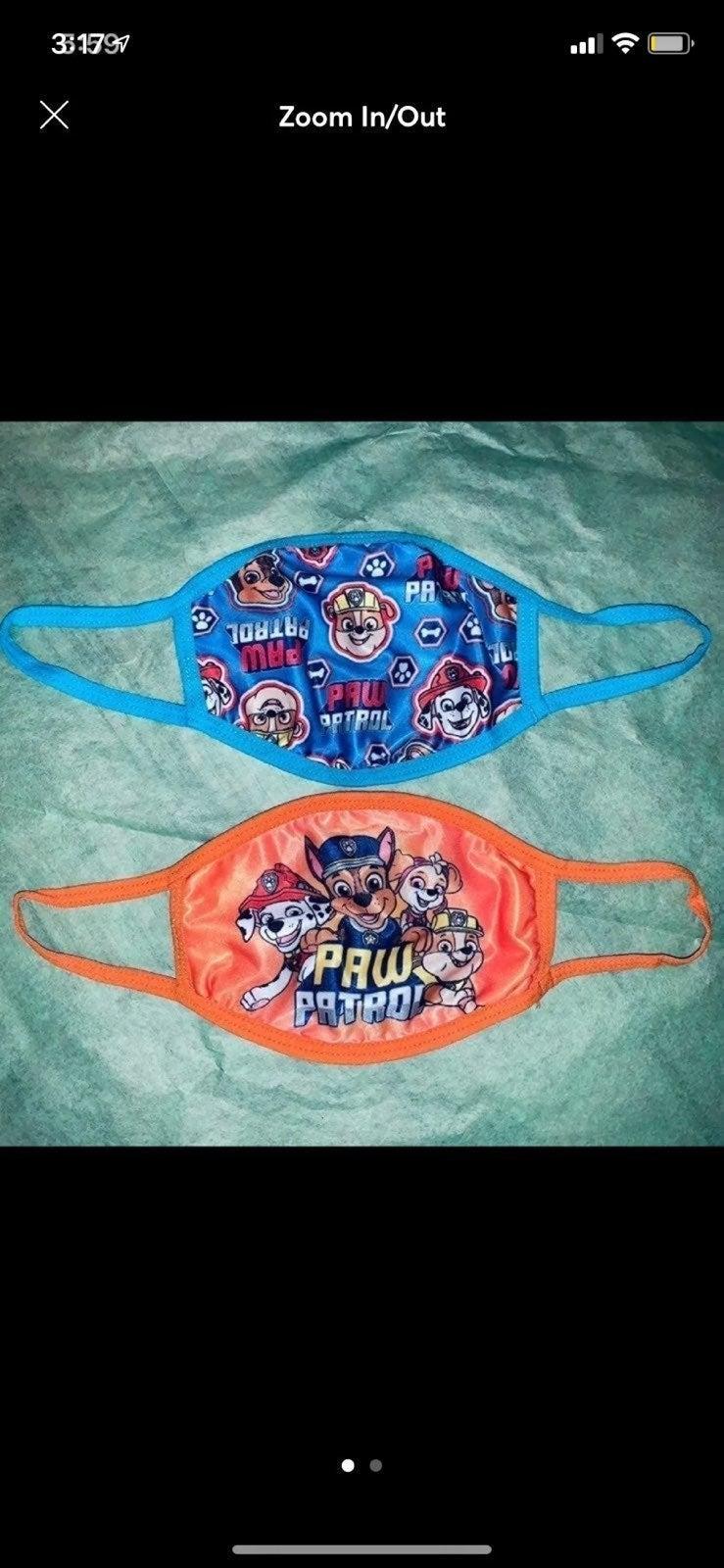 2 x Kids' Paw Patrol Face Masks, NWT!