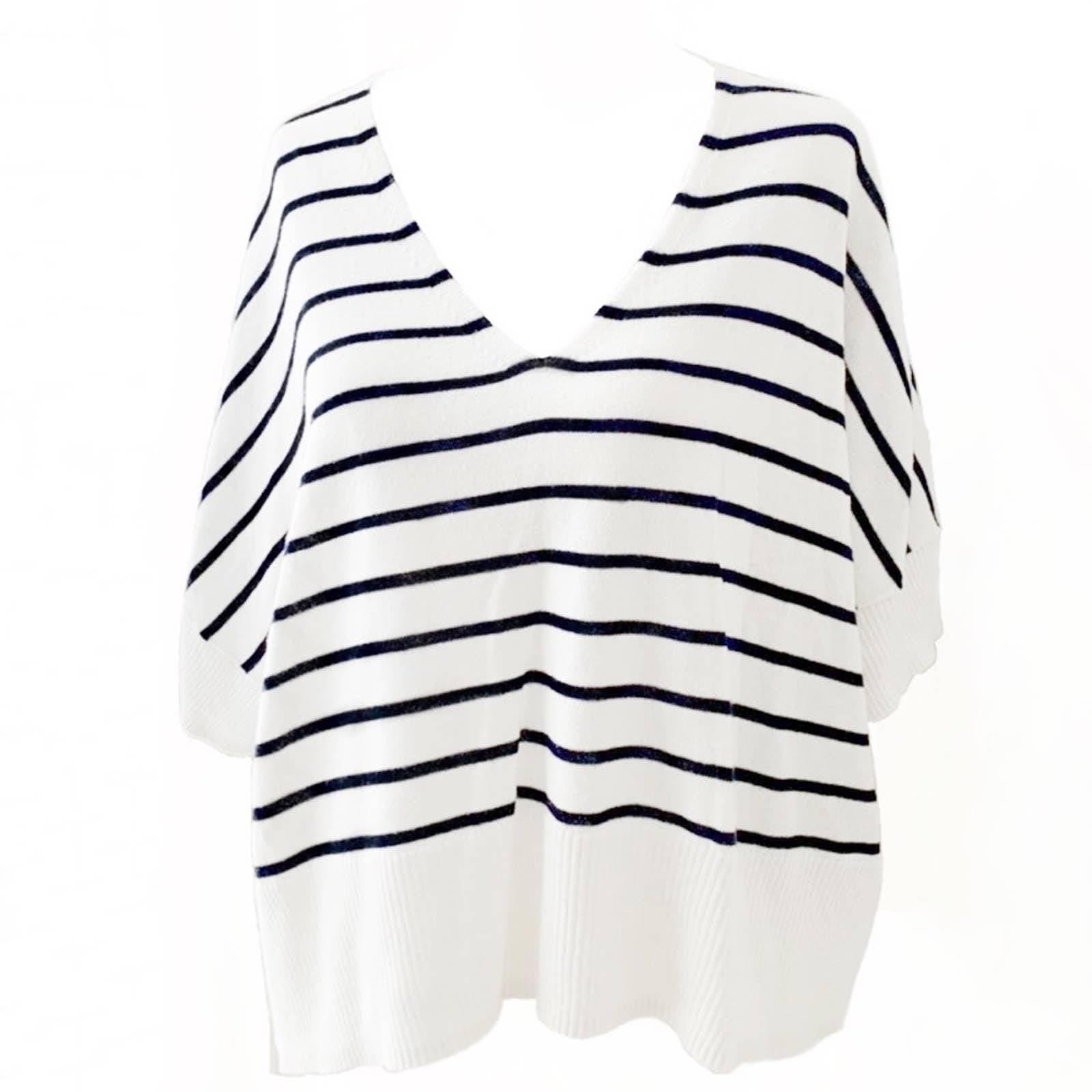 Dex Breton Stripe V-Neck Knit Top