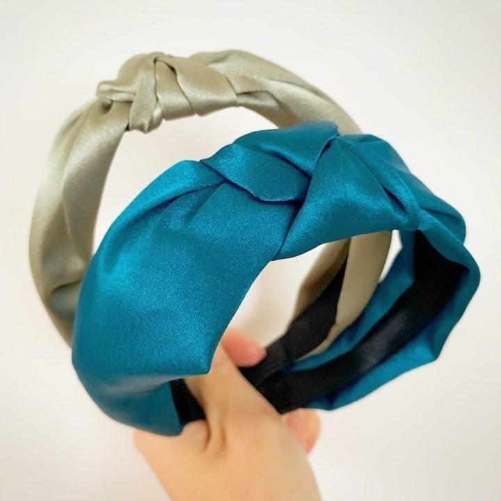 Green + turquoise satin knot headbands