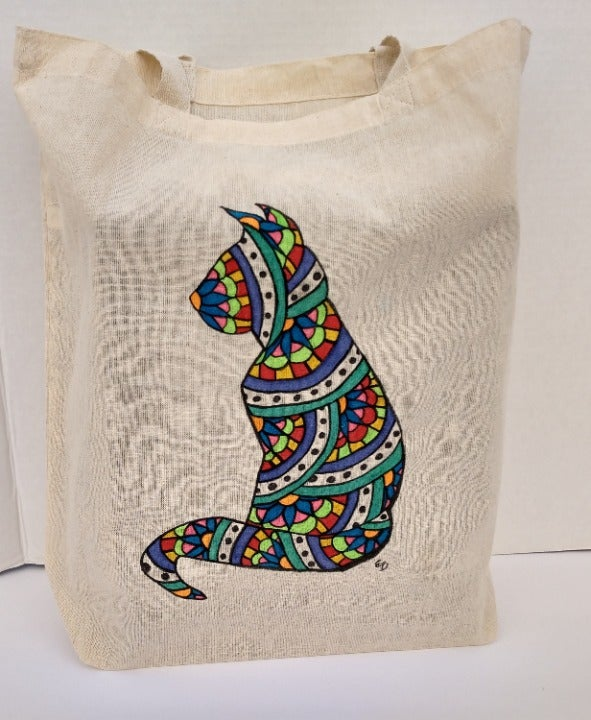 Cat Tote Bag Floral Kitty Shopping Bag